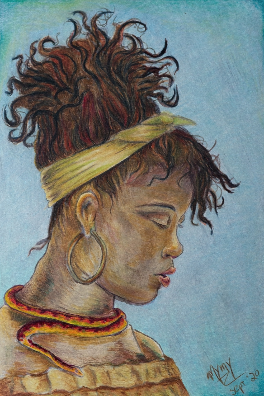 Portrait illustré à l'encre et aux crayons de couleur