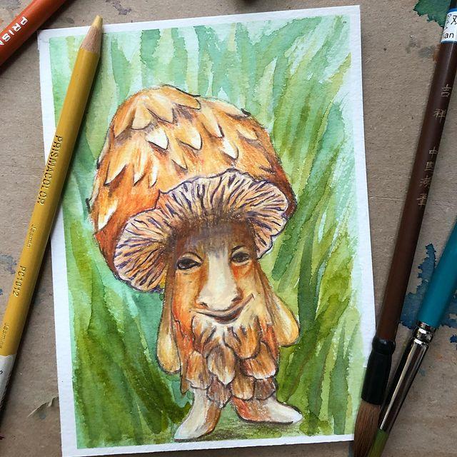 Illustration d'un champignon inspiré par une oeuvre d'Iris Compiet
