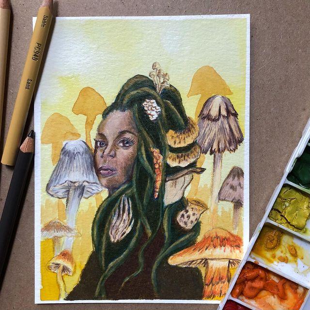 Portrait inspiré d'une illustration de Lauren Brown