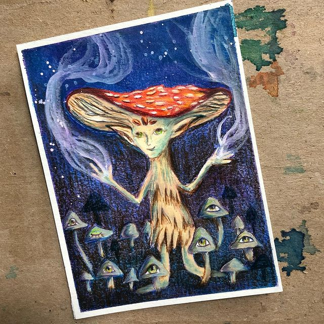 Illustration d'une scène fantastique inspirée d'une illustration de Caitlin Hackett